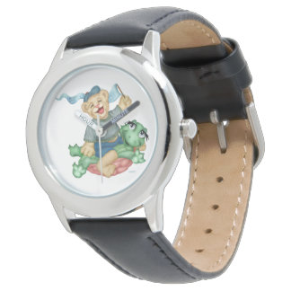 TURTLE BEAR CARTOON Stainless Steel Black Watch