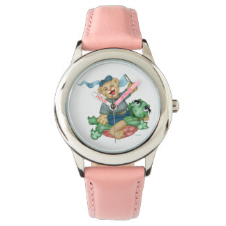 TURTLE BEAR CARTOON Stainless Steel Pink Watch