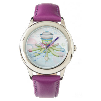TURTLE BEAR CARTOON Stainless Steel Purple Watch