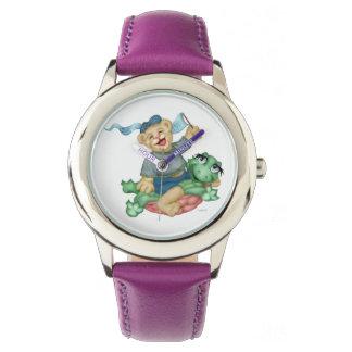 TURTLE BEAR CARTOON Stainless Steel Purple Wrist Watch