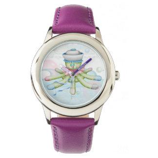 TURTLE BEAR CARTOON Stainless Steel Purple Wristwatch