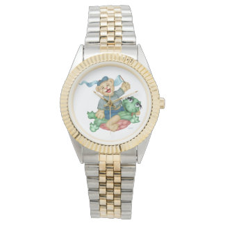 TURTLE BEAR CARTOON Two-Tone Bracelet Watch