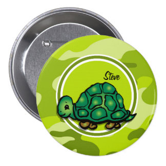 Turtle bright green camo camouflage buttons