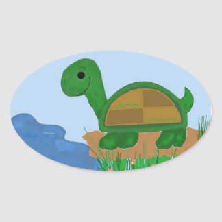Turtle by the Pond Oval Sticker