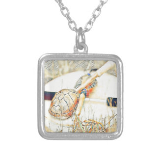 Turtle Clan Rattle and Drum Silver Plated Necklace
