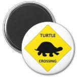 Turtle crossing sign refrigerator magnet