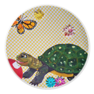 Turtle Drawer Pull Door Knob Yellow Apple Flowers