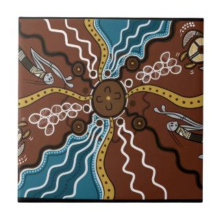 Turtle Egg Dreaming Dot Art Ceramic Tile