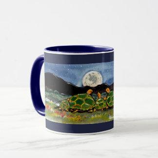 Turtle Family and Moon Night Scene Designer Mug