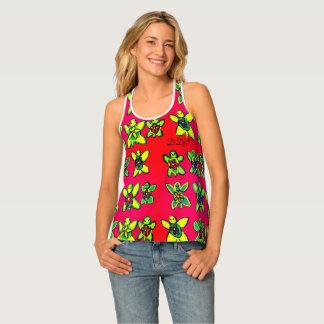 Turtle flower art tank top
