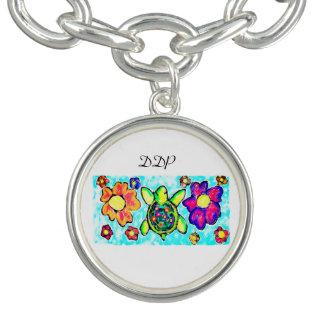 Turtle flower art two charm bracelet