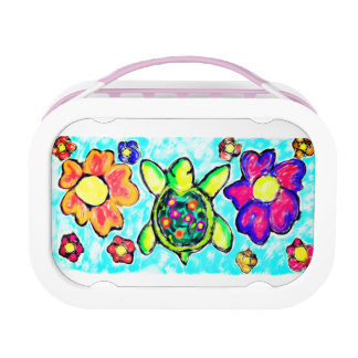 Turtle flower art two lunch box