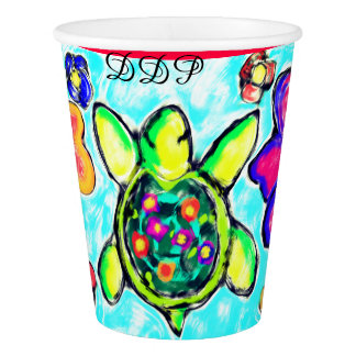 Turtle flower art two paper cup