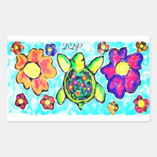 Turtle flower art two sticker
