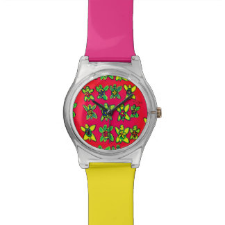 Turtle flower art watch
