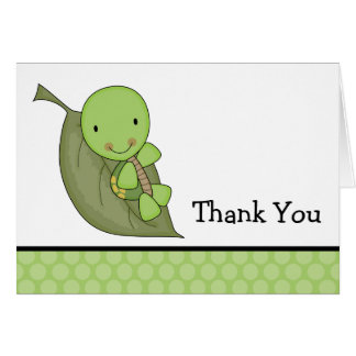 Turtle Green Dots Baby Shower Thank You Card
