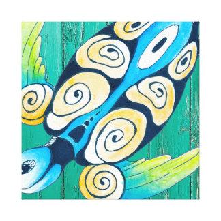 turtle green wood canvas print