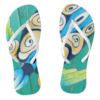 turtle green wood flip flops