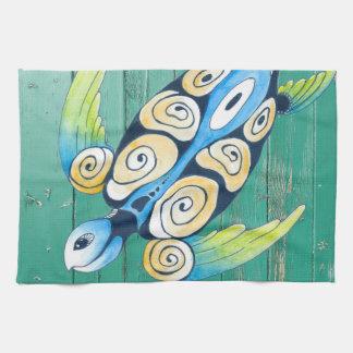 turtle green wood kitchen towel