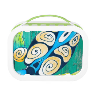 turtle green wood lunch box