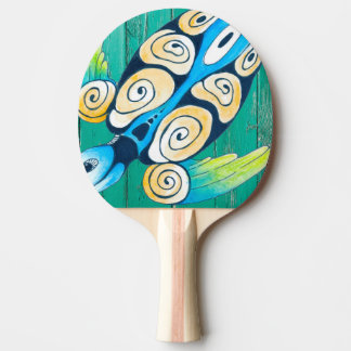 turtle green wood ping pong paddle