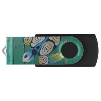 turtle green wood USB flash drive
