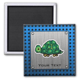 Turtle; Metal-look Square Magnet