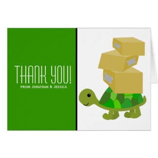 Turtle Moving Boxes Thank You Note Card