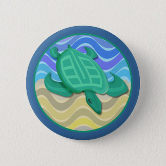 Turtle On Beach Round Buttons