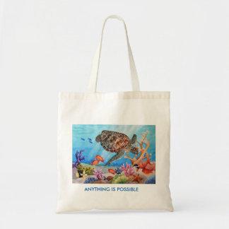 Turtle on reef Tote bag