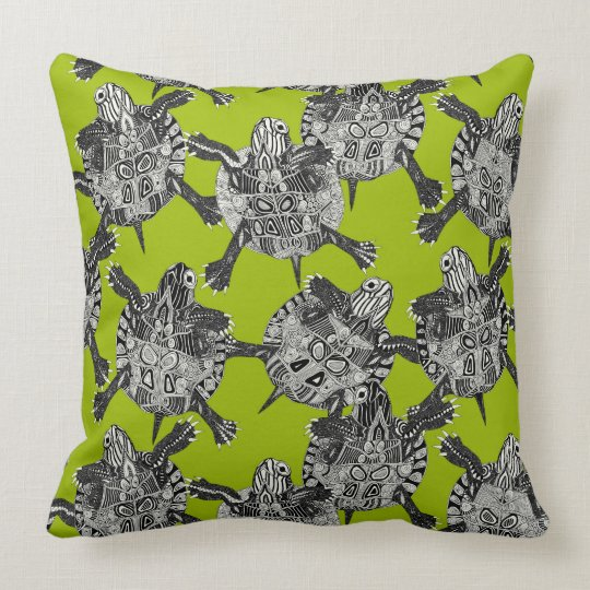 turtle party lime green throw pillow