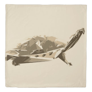 Turtle polygon art illustration duvet cover