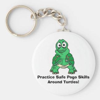 Turtle, Practice Safe Pogo Skills Around Turtles! Keychain