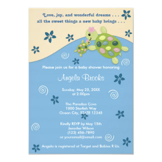 Turtle Reef Baby Shower Invitation TRC Pink Girl