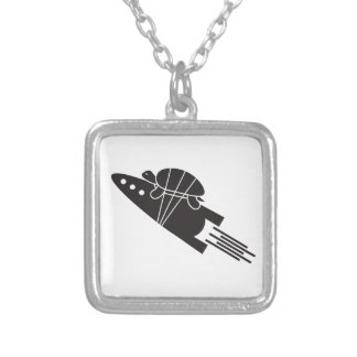 turtle riding a rocket  🐢  🚀 silver plated necklace