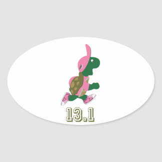 Turtle Runner 13.1 Oval Sticker
