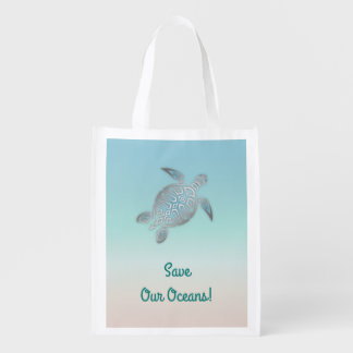 Turtle Save Our Oceans Reusable Grocery Bag
