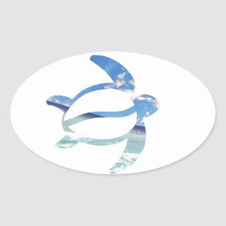 Turtle-sea-sky Oval Sticker