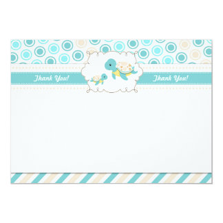 Turtle Thank You Card Note Teal Gold Blank