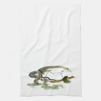 Turtle, traditional Sumi-e in color Kitchen Towel