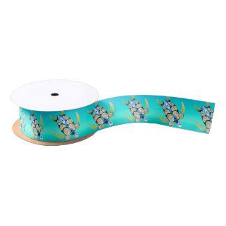 turtle turquoise teal satin ribbon