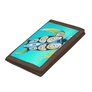 turtle turquoise teal tri-fold wallet