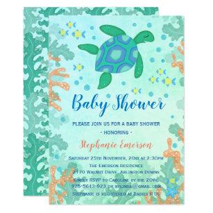 Under the sea baby shower invitations announcements zazzle ca turtle under the sea baby shower invitations filmwisefo