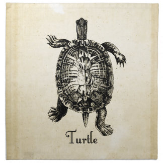 Turtle Vintage Illustration Dinner Napkins