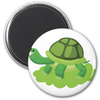 turtle walking in the grass 2 inch round magnet