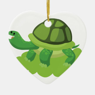 turtle walking in the grass ceramic heart ornament