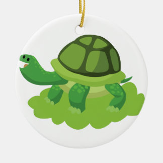 turtle walking in the grass ceramic ornament