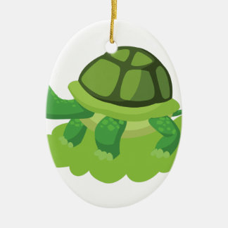 turtle walking in the grass ceramic oval ornament