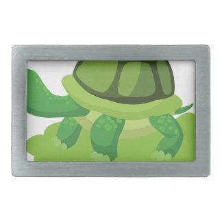 turtle walking in the grass rectangular belt buckle