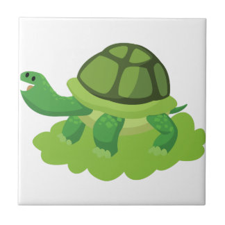 turtle walking in the grass tile